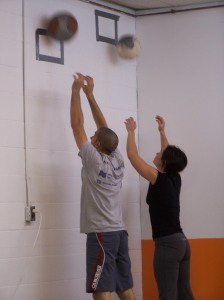 Pierre and Jeanette chipping away at wall balls
