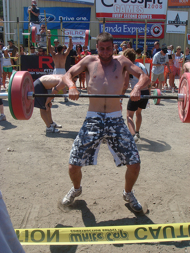 A squat clean at the CrossFit Games