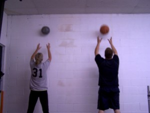 Julie and Devon on wall balls