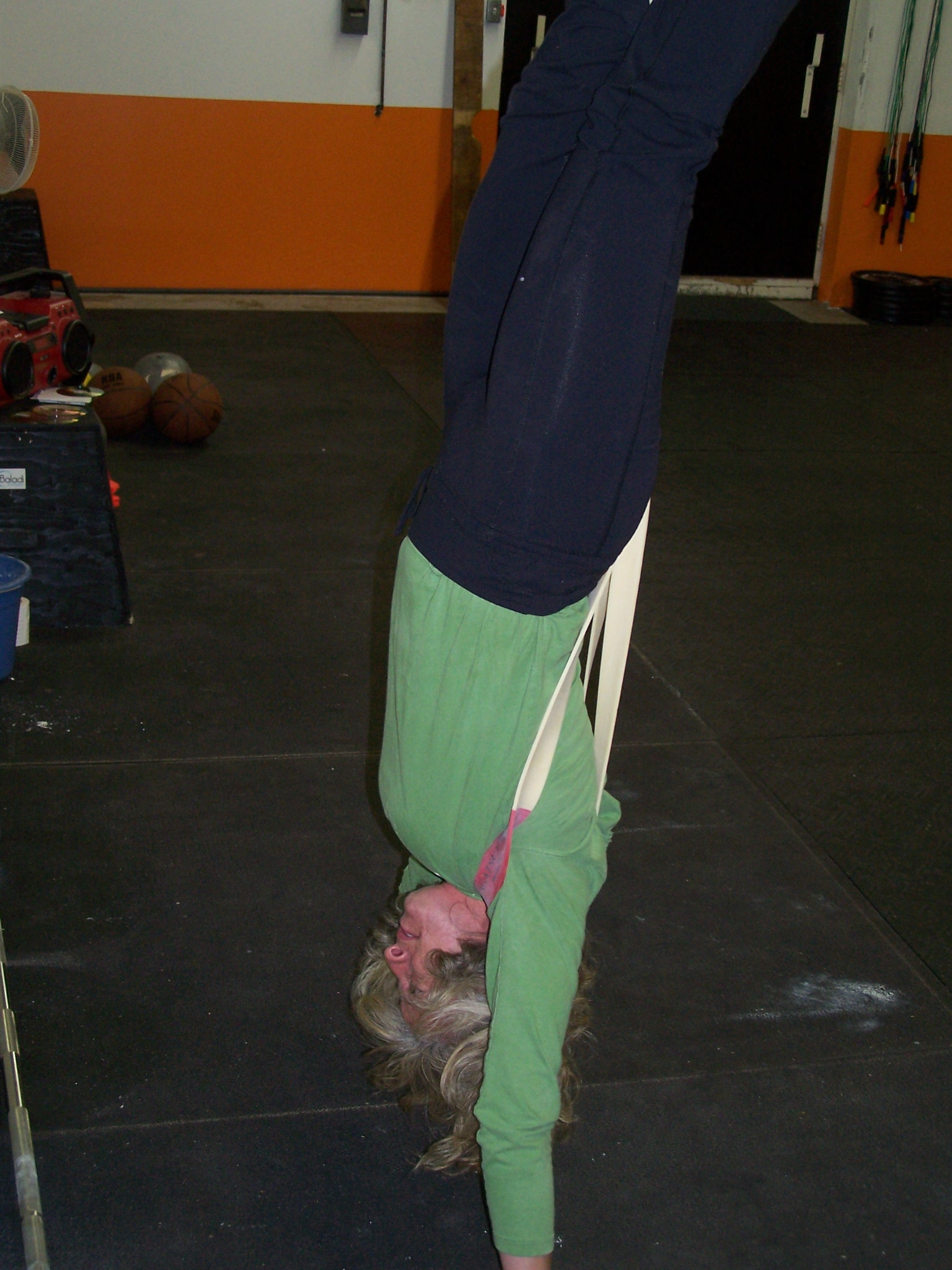 Julie working on some handstand pushups