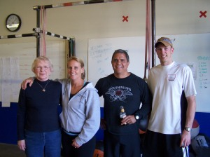 Mom and I with Denise and Steve Serrano, our family away from home