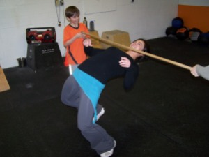 Jeanette giving CrossFit Limbo a try