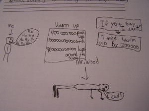 I had my students draw me a picture if they were done their tests early. Brian thinks I'm a tough teacher apparently.