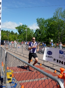 Pierre crossing the finish line