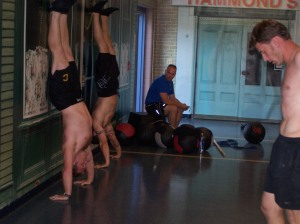 The trainers doing a WOD at the Level 1 Cert in Maine.