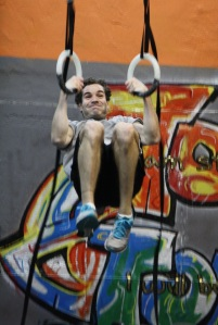 Jason's mid-pull in the muscle-up