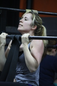 Amber gets her chin over the bar
