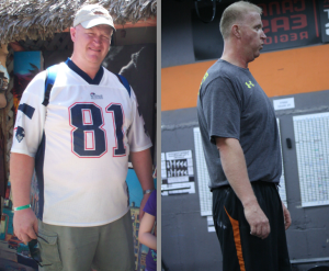 Anthony's before and after picture. Down 93 pounds and still dropping!