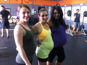 Three CrossFit mommies with their own set of unique challenges. Looking good!
