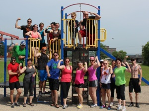 Awesome group that came out to the Anniversary WOD at the park