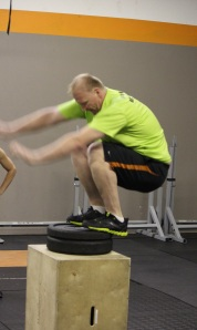 Anthony going for a max box jump. You think he made it?