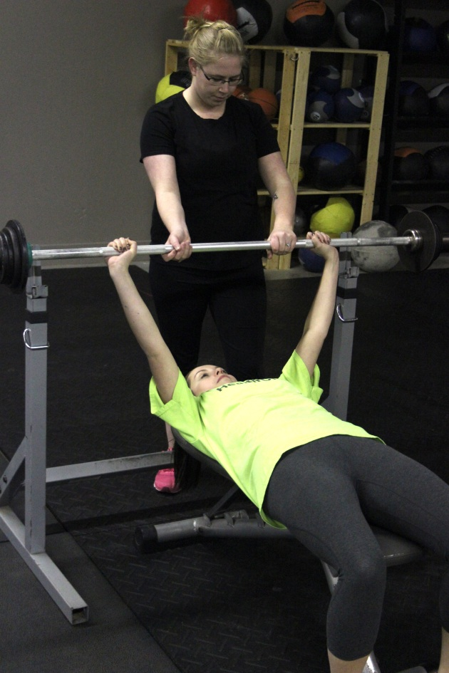 Katie and Alison - first time bench pressers