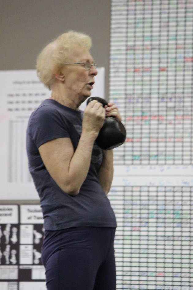 Grammy Wood getting her goblet squats on